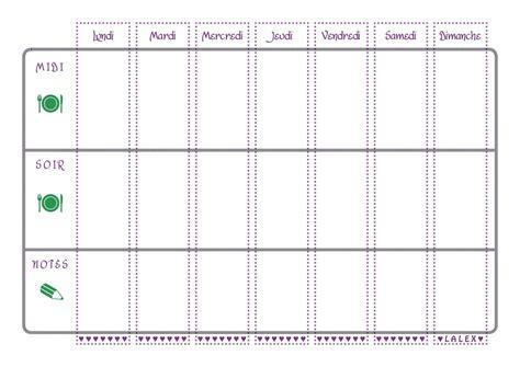 format excel jour de la semaine planning vierge menu de la semaine recettes cookeo