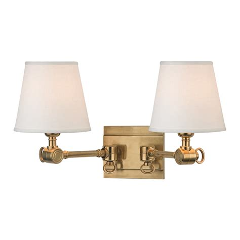 double light wall sconce vintage shaded joint double light swing arm wall sconce