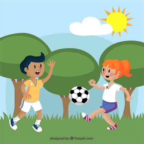 imagenes de niños jugando futbol en caricatura dos ni 241 os jugando futbol imagui