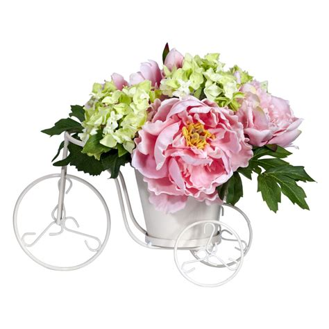 peony floral arrangement peony hydrangea tricycle silk flower arrangement see white