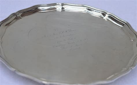 Ac 2442 Silver a solid silver serving or card tray hallmarked in