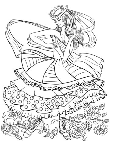 girl dancing   vintage fashion clothing coloring page