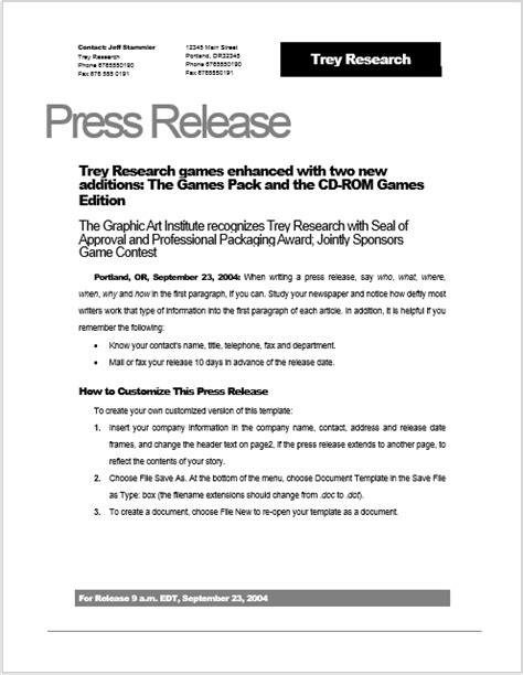 press release template 15 free sles ms word docs