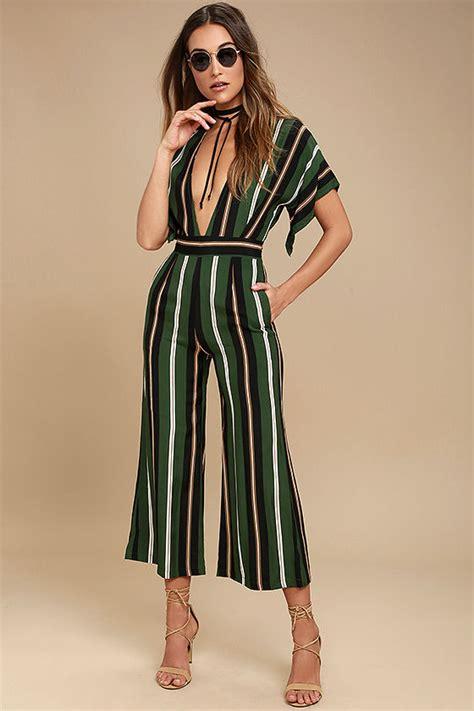 faithfull the brand cedric green striped jumpsuit midi jumpsuit