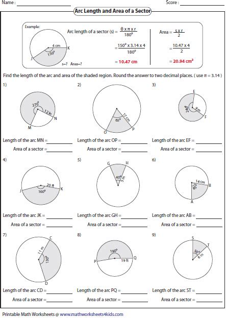 arc length and sector area worksheet arc length and area of sector worksheets