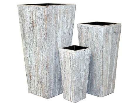 White Square Planter Pots by White Wash Tapered Square Planter Decorative Branches
