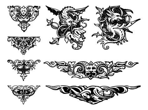vintage ornament vector pattern vintage ornaments set vector art graphics freevector com