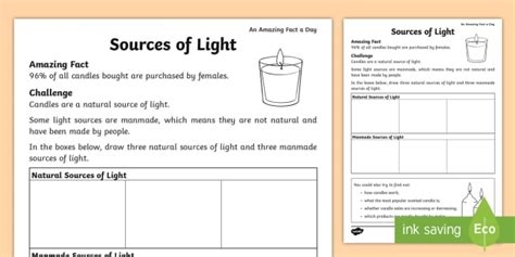 sources of light worksheet amazing fact of the day