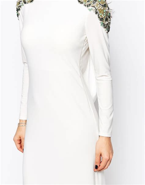 Calista Maxi Dress forever unique calista sleeve maxi dress with embellished shoulders and open back white