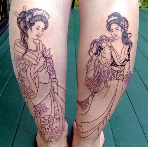 tattoo geisha blue 59 graceful geisha tattoos for leg