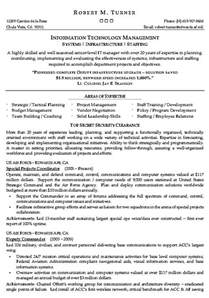 Information Technology Resume Sample Information Technology Management Resume Example It