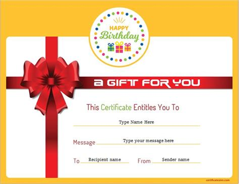 birthday gift card template word free birthday gift certificate template formal word