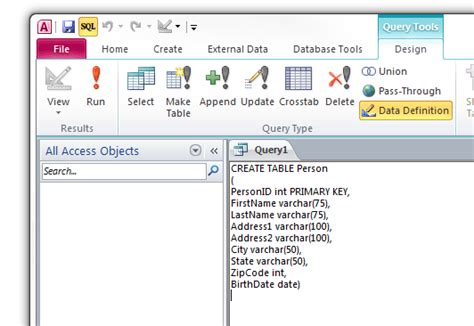 Tsql Create Table by Creating A Table Using Sql Commands In Access 2010