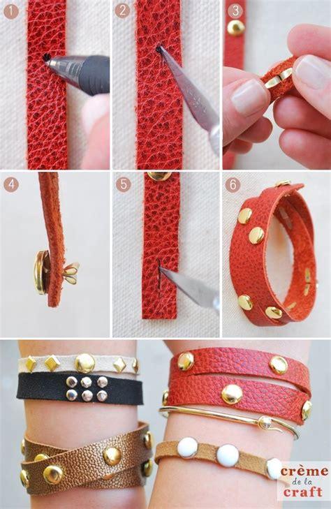como hacer brazaletes de cuero brazaletes de cuero y tachas home manualidades