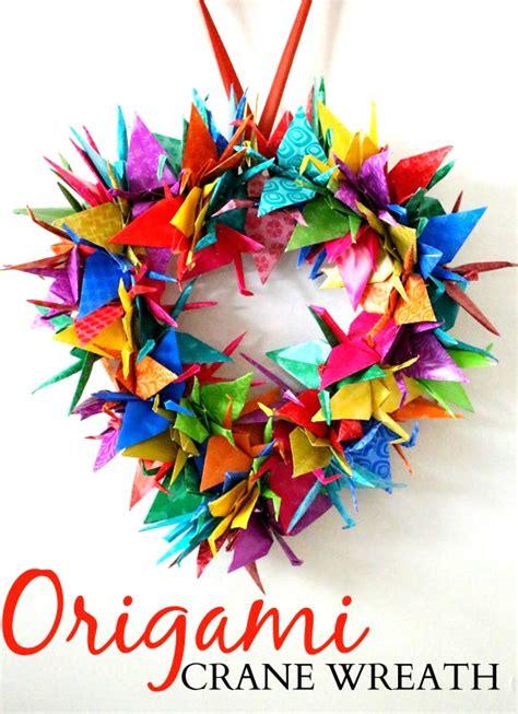 Origami Wreath - origami crane wreath craft tutorial raising whasians