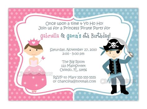 princess and pirate invitations princess and pirate or zebra or dots background birthday invitation you print