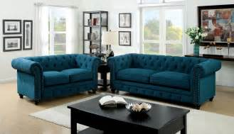 3 stanford teal fabric sofa set foa 6269sf