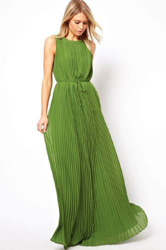 Adliya Dress Plain Series Green ted baker pleated maxi dress gorgeous