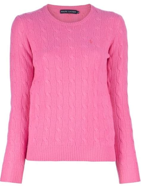 pink cable knit sweater ralph blue label cable knit sweater in pink lyst