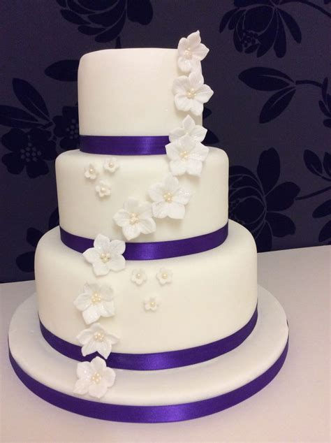 Simple But 3 Tier Wedding Cake For And Sponge Cake Petunias And Blossoms On