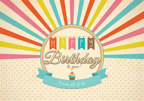 Birthday Card Vintage Template by Retro Happy Birthday Card Vector Free Vector