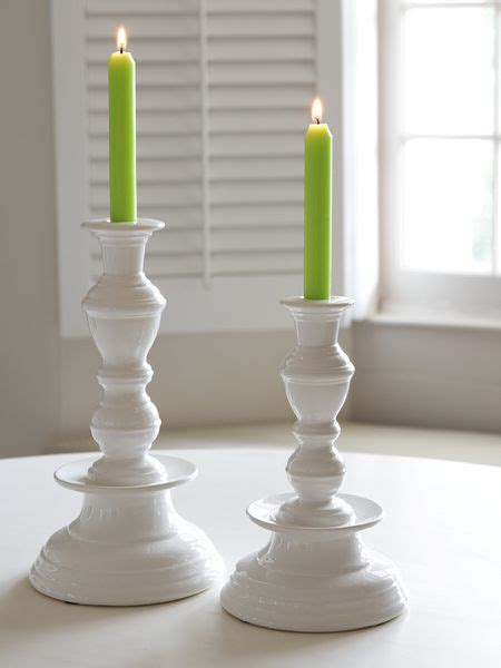 Large White Candlesticks by Stylish White Candle Holder