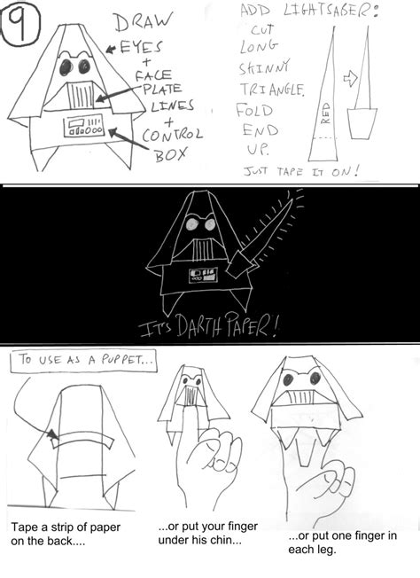 How To Make A Origami Yoda Finger Puppet - origami yoda ii darth paper strikes back folding