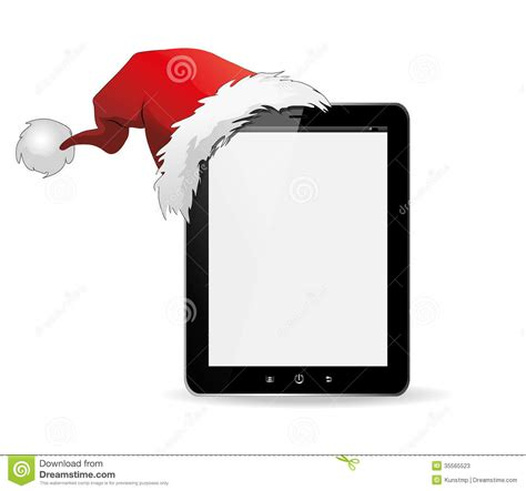 ipad christmas with santa hat stock vector image 35565523