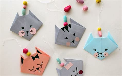 Simple Paper Crafts - how to make an easy origami cat crafts