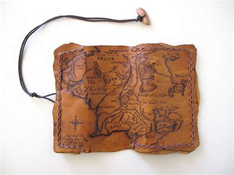 Handmade Leather Tobacco Pouches - handmade exclusive leather tobacco pouch with pyrography map