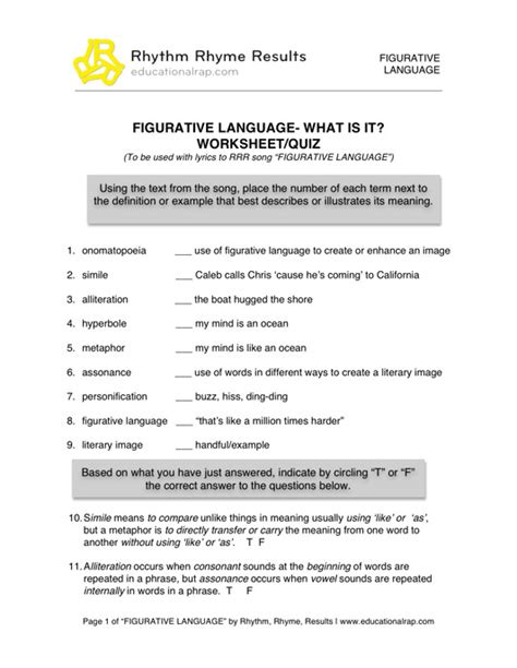 Figurative Language Worksheet by Language Arts Educational Songs Free Worksheets