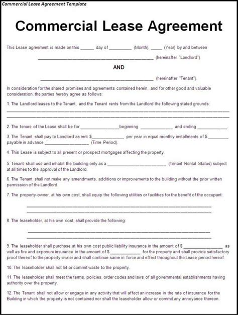 free printable lease agreement ms lease agreement template word document