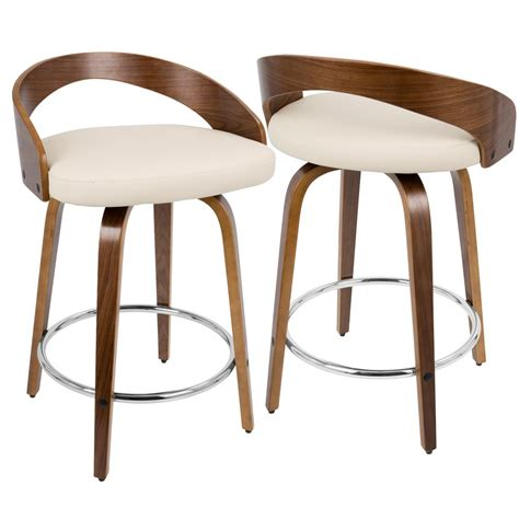 Lumisource Grotto Counter Stool by Lumisource Grotto Walnut And Swivel Counter Stool Cs