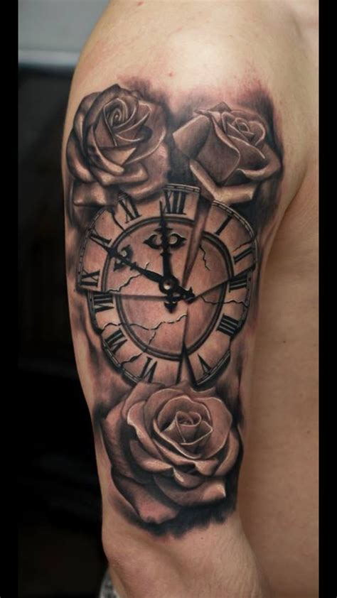 tattoo rose and clock time for roses work portfolio
