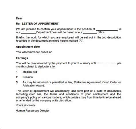 appointment letter in appointment letter sle design