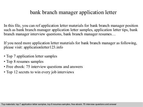 application letter to bank manager bank branch manager application letter