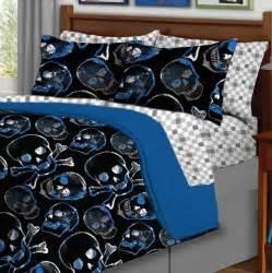 5pc boy blue black skull gothic twin comforter set