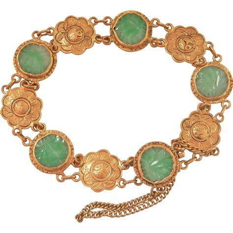 Camile Floral Link Bracelet by Estate 24k Gold Jade Floral Link Bracelet Bird On A Wire