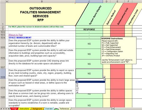 facility management template outsourced cafm services rfp facility management