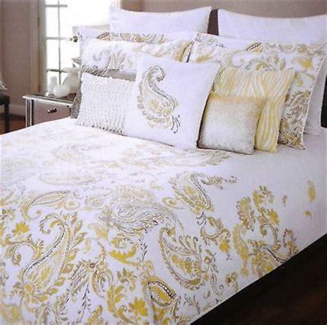 tahari coverlet tahari yellow gray white paisley 3pc full queen duvet