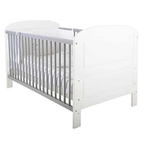 Grey Baby Cot Baby Toddler Cot Bed In Grey And White Design