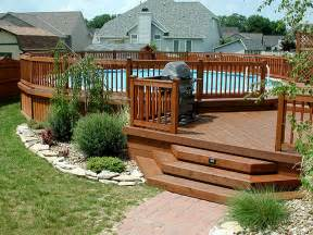 multi level above ground pool deck design ideas for