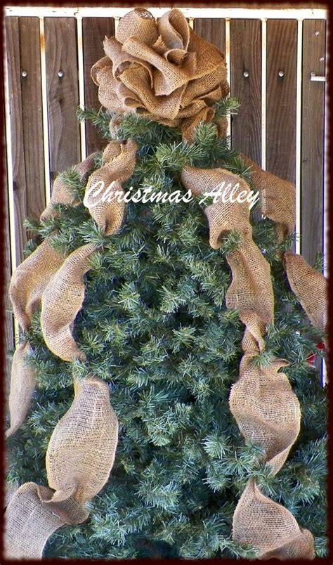 trees with burlap tree topper burlap tree topper bow topper