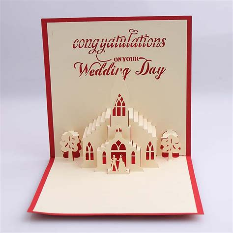 Pop Up Origami Card - bridegroom 3d wedding card creative kirigami