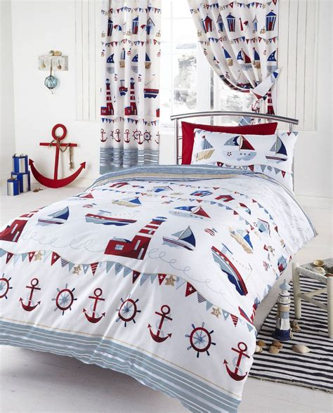 boys nautical bedding nautical ships white kids boys reversible single duvet