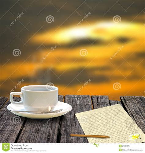 Sky Credit Balance Letter Coffee Cup And Letter With Sunset Sky Stock Image Image 21474171