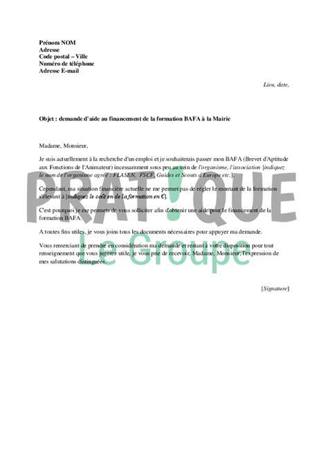 Exemple De Lettre Demande De Stage Bafa Lettre De Demande De Financement Du Bafa 224 La Mairie Pratique Fr