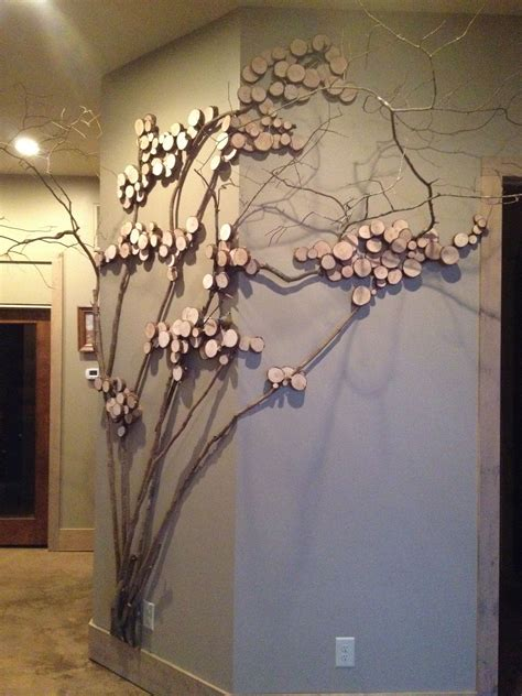 tree art twig art  wall decor wall art  mountain
