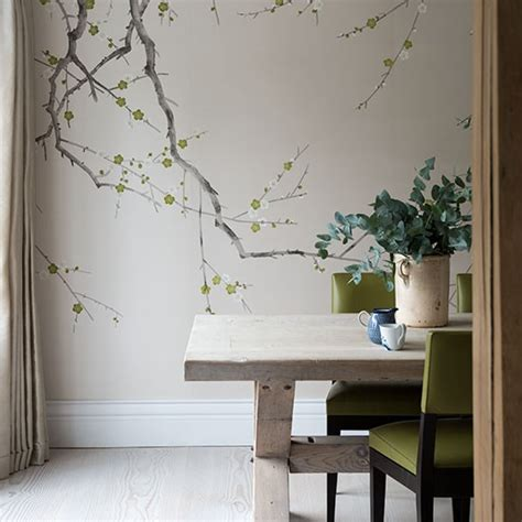 green wallpaper for feature wall neutral dining room with feature wall decorating