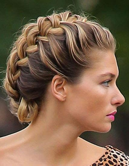 formal side french braid updo jessica hart s side french braid updo prom wedding